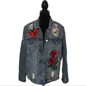 Tinseltown Distressed Patch Blue Jean Jacket